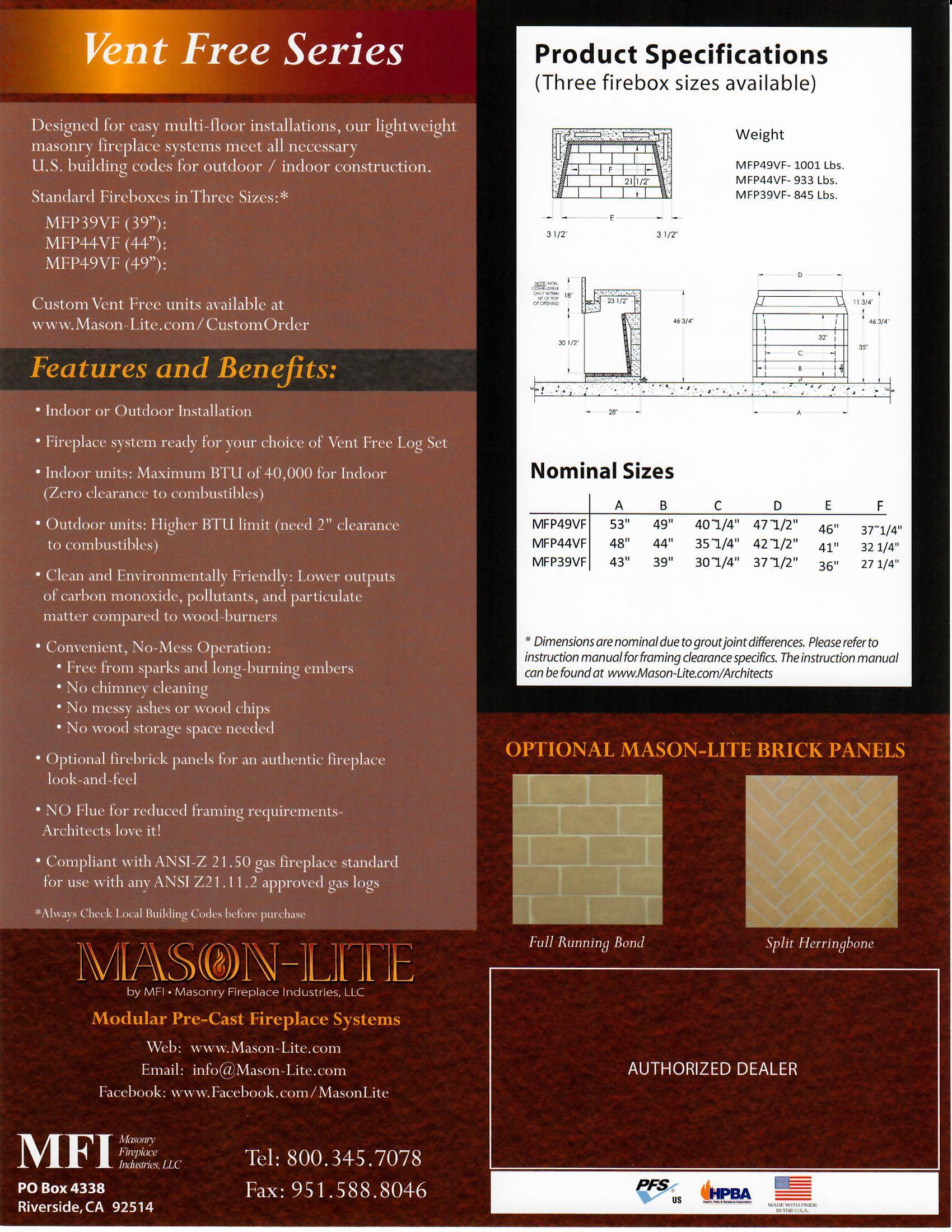 Mason-Lite Vent Free Information Sheet