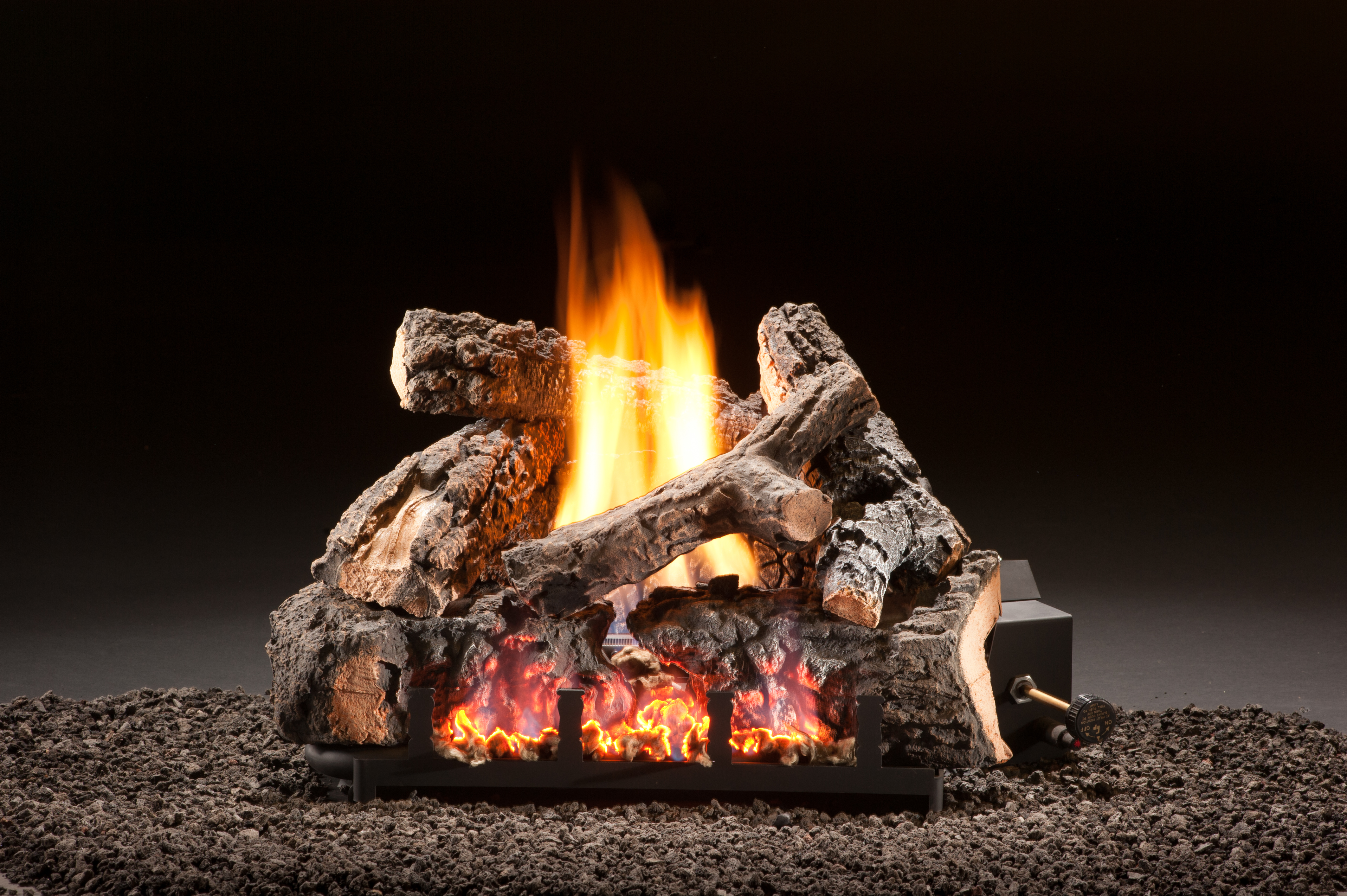 fireplace flames burning fire log to front check out tutorial how ceramic make diy stacked trgn on faux s logs a wood red grate screen